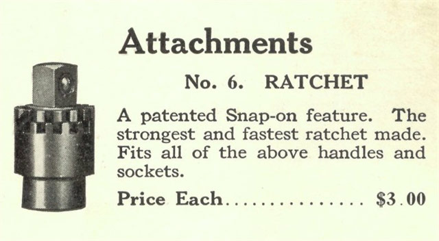 The Snap-on First Patent: No. 6 Ratchet
