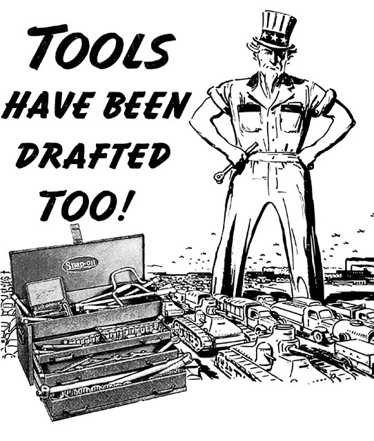 "Grayscale poster of Uncle Sam with his hands on his hips declaring ""Tools have been drafted too!"""