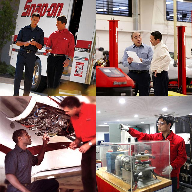 Four image collage including a Snap-on Franchisee working with a technician, shop owners speaking, technicians working on an aircraft engine, and a technician with a prototype