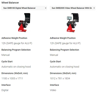 Are you interested in buying a Sun wheel balancer and keen to know more about how our units compare against each other? Just use this quick system to see their specifications side-by-side.