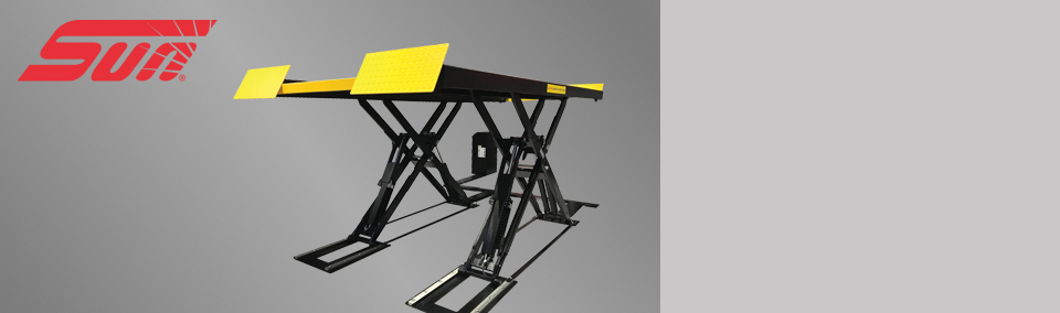 The new SSL 6350 car scissor lift from Sun allows for one-person testing.