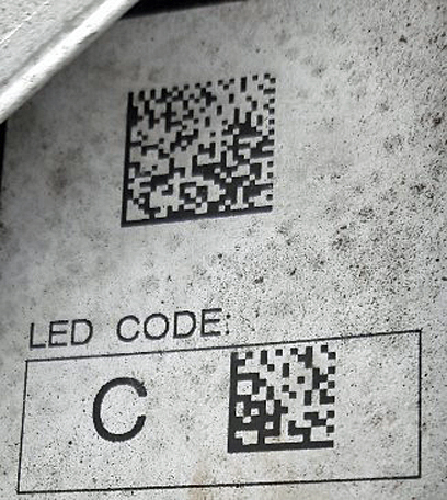 Here we have the main data matrix code and an LED C code on an example of a static variant.