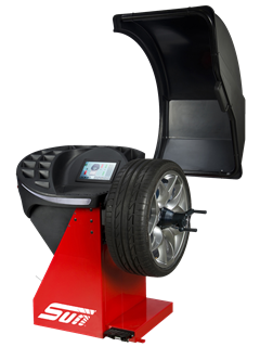 The Sun SWB340L from Snap-on is a professional touchscreen wheel balancer for cars, light trucks and motorcycles with 2D SAPE and Smart Sonar input for automatic measurement of wheel offset, wheel diameter and wheel width, and a pinpoint laser indicator for weight placement.