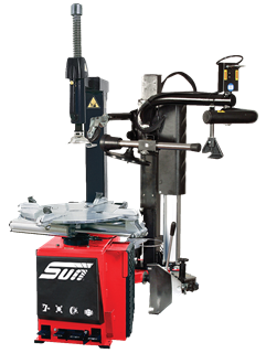 The Sun STC5305 single-speed tyre changer with assist arm from Snap-on is designed for general repair shops, for standard steel and manufacturer-produced alloy rims.
